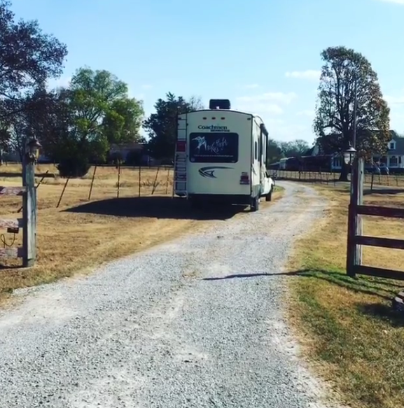 Backing up the RV down a very un-even driveway