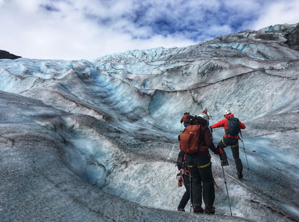 Ice climbing on exit glacier
